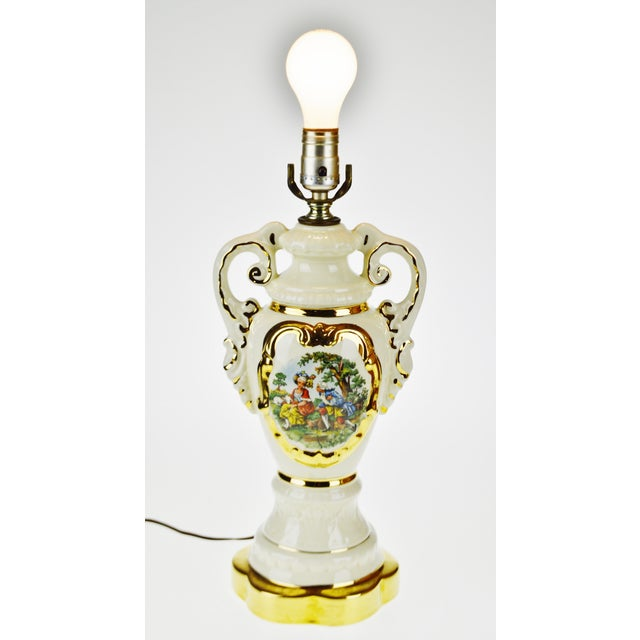 French Victorian Ulrich Style Porcelain and Gilt Table Lamp For Sale - Image 9 of 9