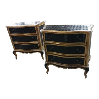 "Antique Italian Florentine ""Gilt & Black Lacquer"" Commodes-A Pair"