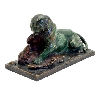 Animalier Charles Paillet French Bronze, Preying Panther & Eagle, 1900's For Sale