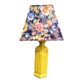 Vintage Faux Bamboo Yellow Palm Beach Regency Table Lamp W/ Floral Shade For Sale