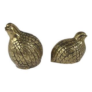 Vintage Brass Quails - A Pair