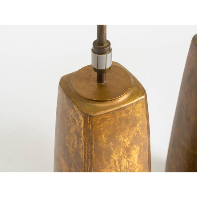 Pair of Bronze Tapered Column Table Lamps by Hansen For Sale In New York - Image 6 of 9