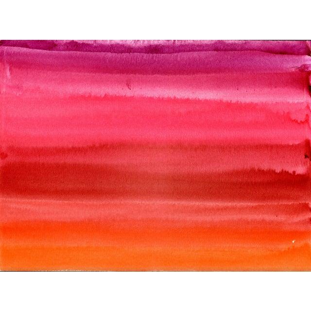 Pink Red Orange Original Watercolor Artwork For Sale - Image 4 of 9