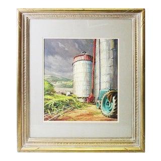 Caddell Farm Silo Gouche Scene Painting For Sale