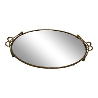 1950s Gilt Metal Rope and Tassel Oval Mirror Tray For Sale