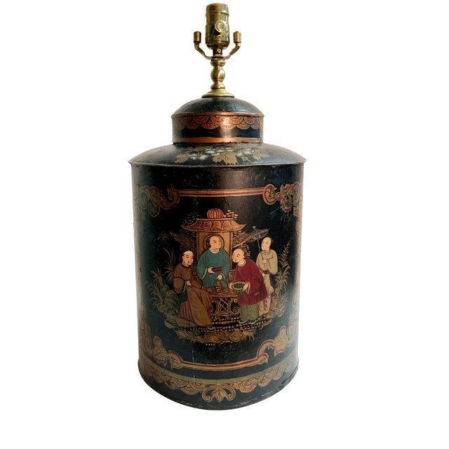 1980s Vintage Black Handpainted English Tea Caddy Lamp For Sale - Image 5 of 5