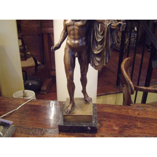 Mid 19th Century 19th Century Italian Male Nude Bronze Statue For Sale - Image 5 of 5