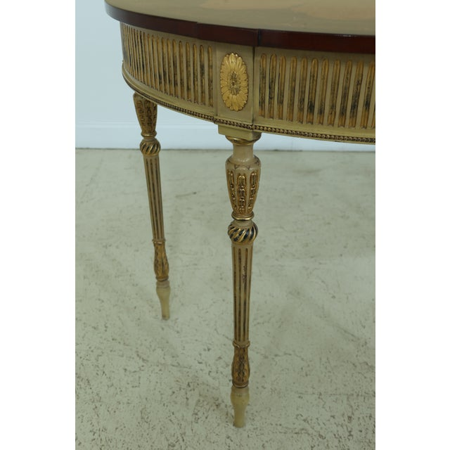 English Gorgeous Highly Inlaid Paint Decorated Adam Console Table For Sale - Image 3 of 12