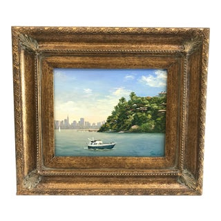 Original Framed Boating City Scene Oil Painting on Board by Sue Liao For Sale