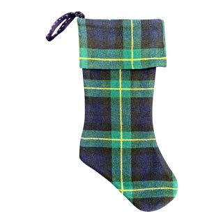 Vintage Scottish Tartan Plaid Christmas Stocking For Sale
