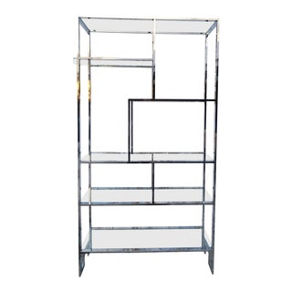 1970s Mid-Century Modern Milo Baughman for Design Institute of America Chrome and Glass Greek Key Etagere For Sale