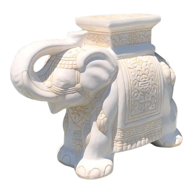 1970s Chinese Chinoiserie White Happy Lucky Elephant Side Table or Garden Stool For Sale
