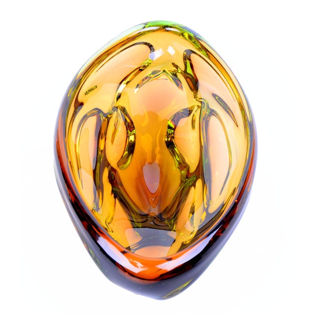 Italian Murano Amber Bowl For Sale - Image 3 of 6