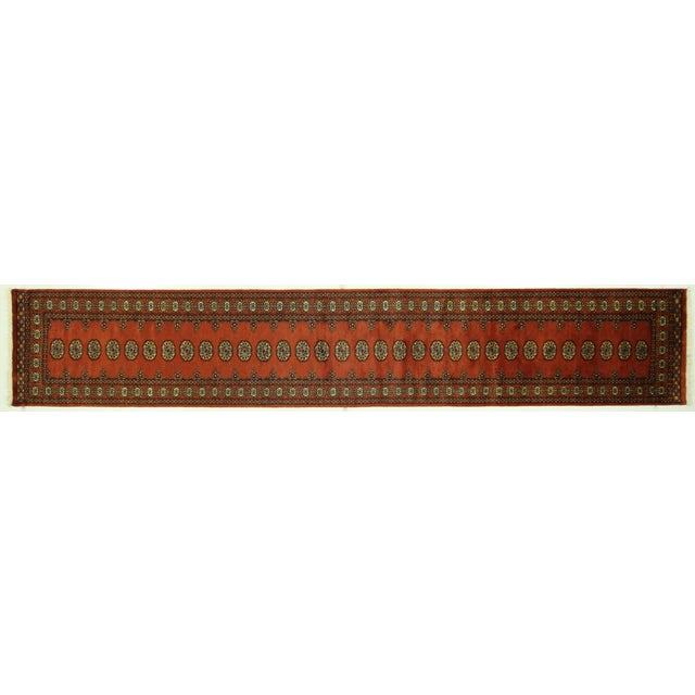 "Bokhara Orange Hand Made Wool Rug - 2'6"" x 16'1"" - Image 1 of 8"