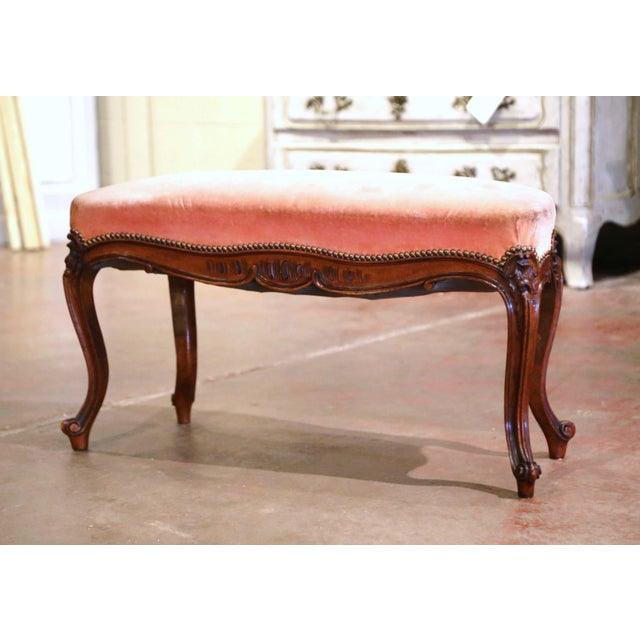 Metal Midcentury French Louis XV Carved Walnut and Velvet Bombe and Curved Bench For Sale - Image 7 of 9
