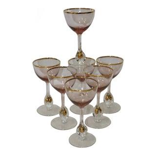 Set of Seven Vintage Bohemian Czech Wine Glasses c.1950s