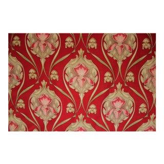 Antique Art Nouveau Red Drape Curtain For Sale