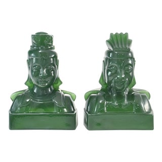 Jade Emperor & Empress Glass Bookends - A Pair
