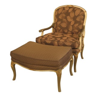 Upholstered Arm Chair & Matching Ottoman For Sale