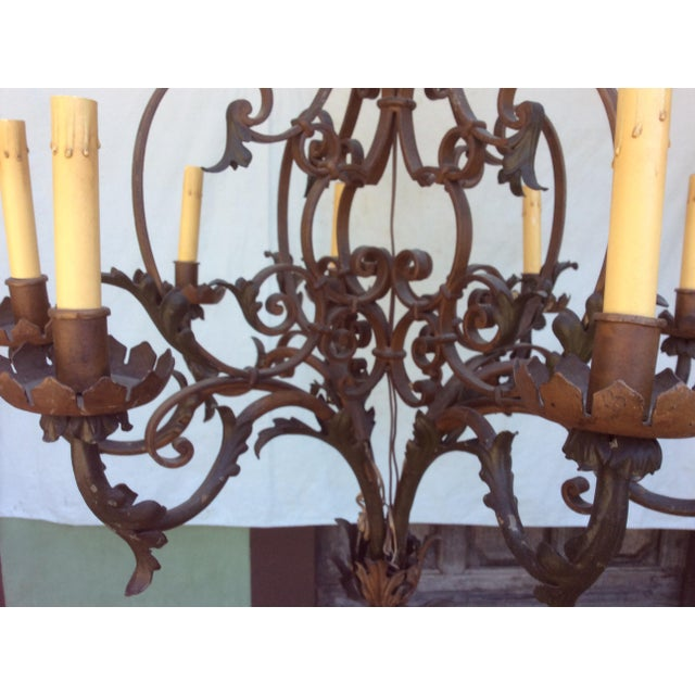 Antique Scrolling Iron Chandelier For Sale - Image 5 of 11