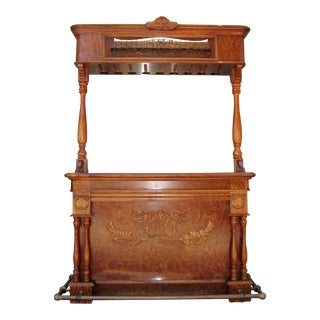 Pulaski Furniture Wooden Bar With Granite & Light and Canopy Top For Sale