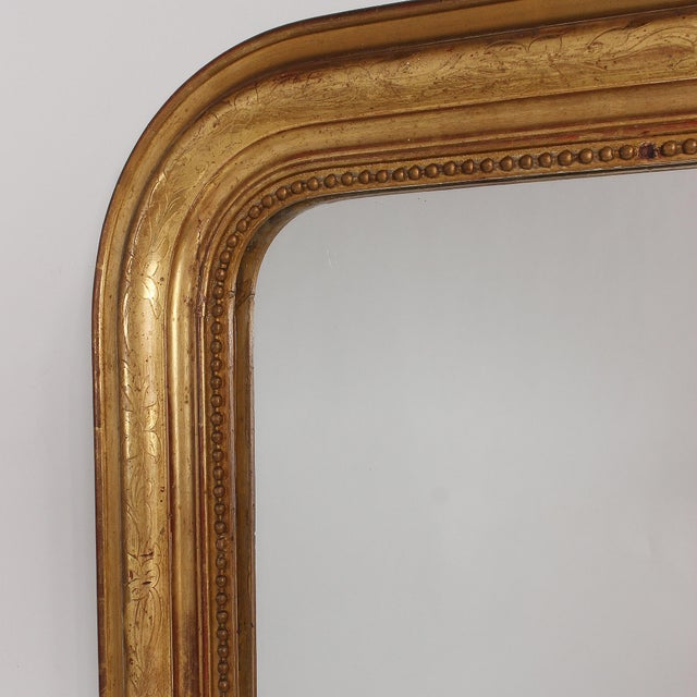 19th Century French Louis Philippe Gilt Mirror With Floral Design For Sale - Image 4 of 11