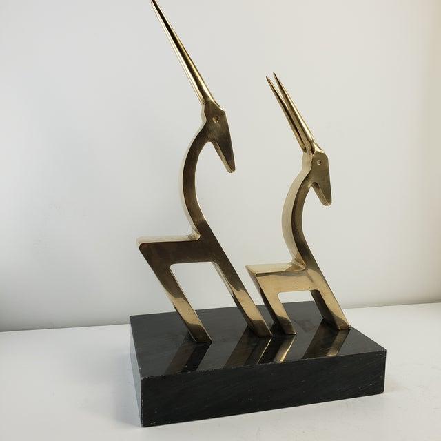 Vintage Brass 2 Gazelle Sculpture Mid Century Modern Table Art For Sale - Image 12 of 12