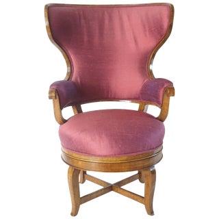 Biedermeier Fauteuil De Bureau Swivel Seat Wingback Chair, Circa 1830 For Sale