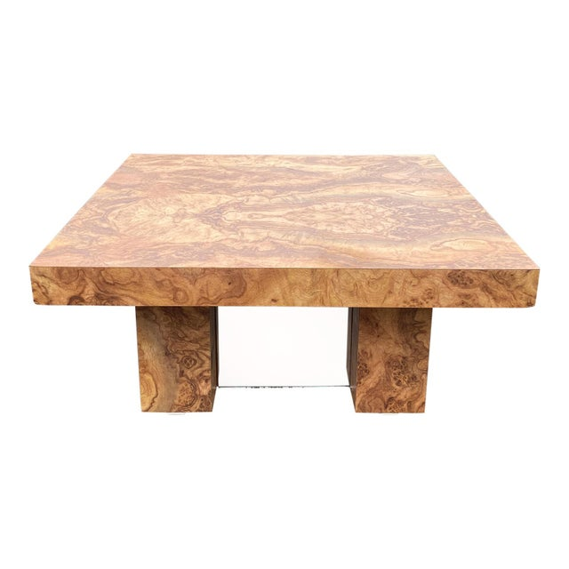 Mid-Century Modern 1970s Laminate Wood Burl Mirrored Square Coffee Table For Sale - Image 3 of 8