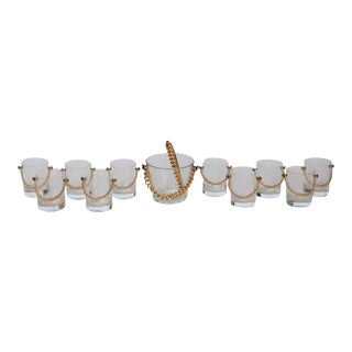 Modern Glassware Set With Brass Chain - Set of 11 For Sale