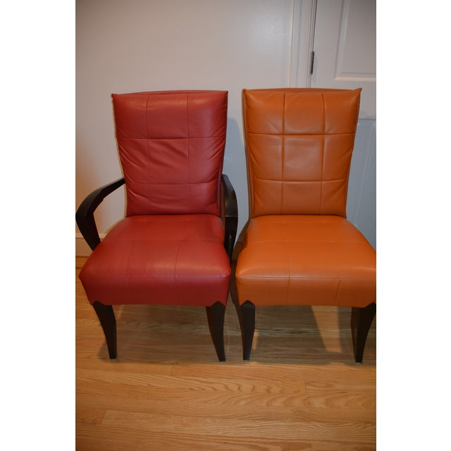 Dakota Jackson Puff Dining Chairs (6), ebonized cherry wood legs, satin finish, fully upholstered seat, back attached...
