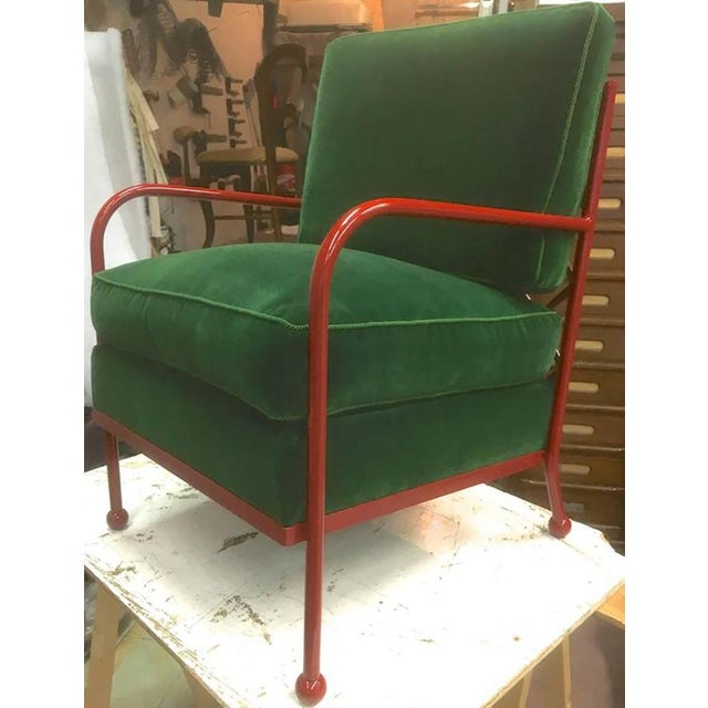 Jean Royère Pair of Croisillon Armchairs in Red Lacquered Wrought Iron For Sale - Image 6 of 9