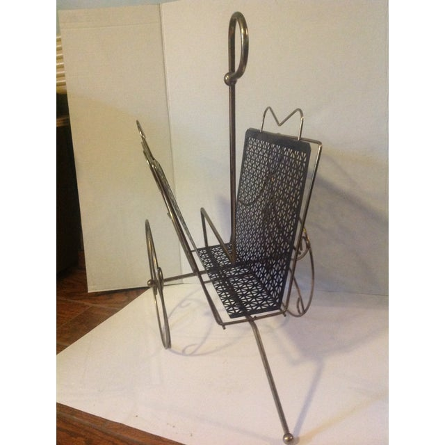 Hollywood Regency Mid Century Modern Mesh Magazine Basket Decor For Sale - Image 3 of 6