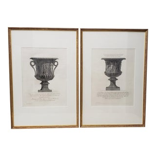 Giovanni Piranesi (Italian, 1720-1778) Pair of Framed Marble Vases Etchings C. 1770s For Sale