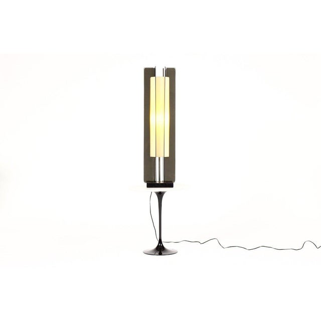 Great vintage floor lamp or large table lamp. Combination of smoked and frosted acrylic with black lacquered base. All the...