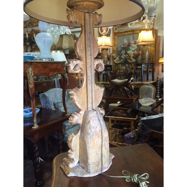 18th Century Carved Giltwood Candles Converted to Lamps - a Pair For Sale - Image 11 of 13