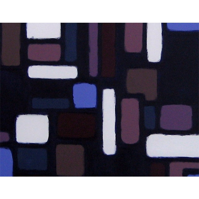 This painting is from the Cityscene series that is a nod to the retro, simplified pattern and design styles of the 60's....