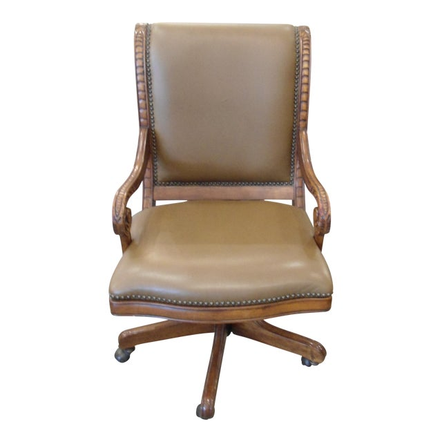 Swivel Office Chair with Tan Vinyl and Wooden Frame - Image 1 of 3