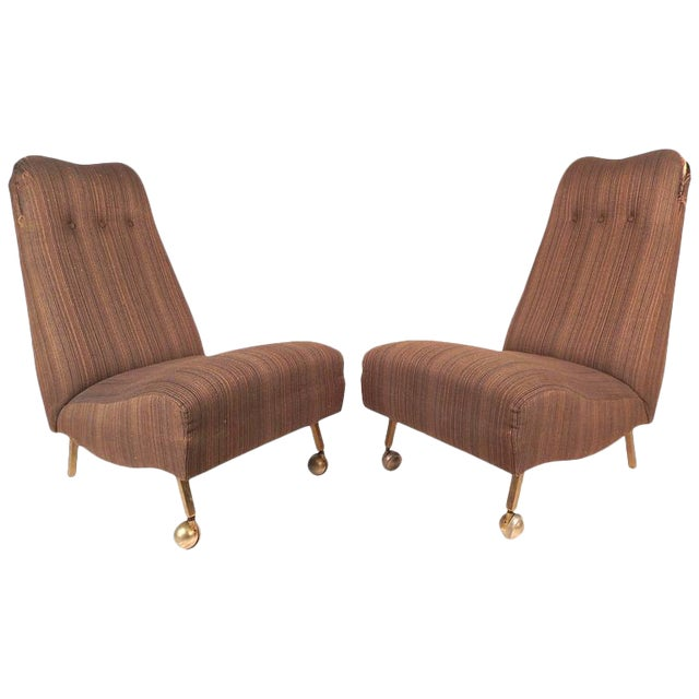 Mid-Century Modern High Back Slipper Chairs - A Pair - Image 1 of 9
