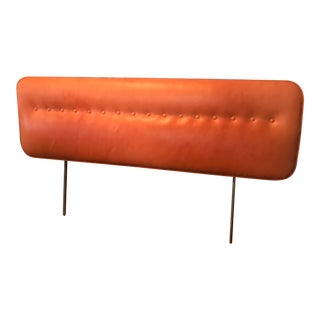 Vintage George Nelson for Herman Miller Orange Leather Full Headboard