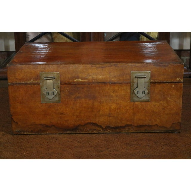 Brown Mid 19th Century Chinese Vellum Trunk For Sale - Image 8 of 8