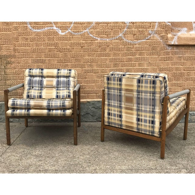 1950s Mid-Century Modern Harvey Probber Style Upholstered Club Chairs- A Pair For Sale - Image 5 of 11
