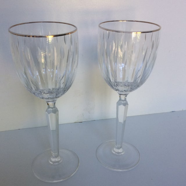Cut Crystal Gold Rim Wine Glasses - a Pair For Sale - Image 13 of 13