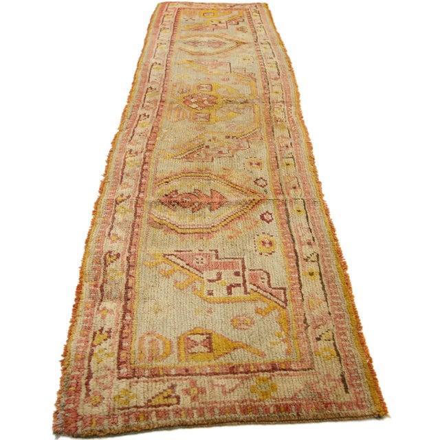 Islamic Late 19th Century Antique Wagireh Turkish Oushak Hallway Runner Rug - 2′ × 8′10″ For Sale - Image 3 of 8