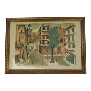 1940's French Village Lithograph For Sale