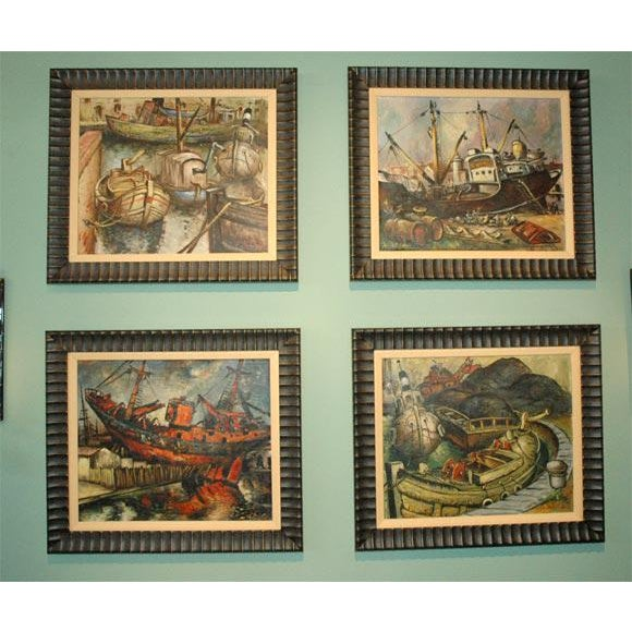 "Set of four framed WPA style oil paintings probably painted in the late 1930's-late 1940's Signed ""Calastrini"". New..."