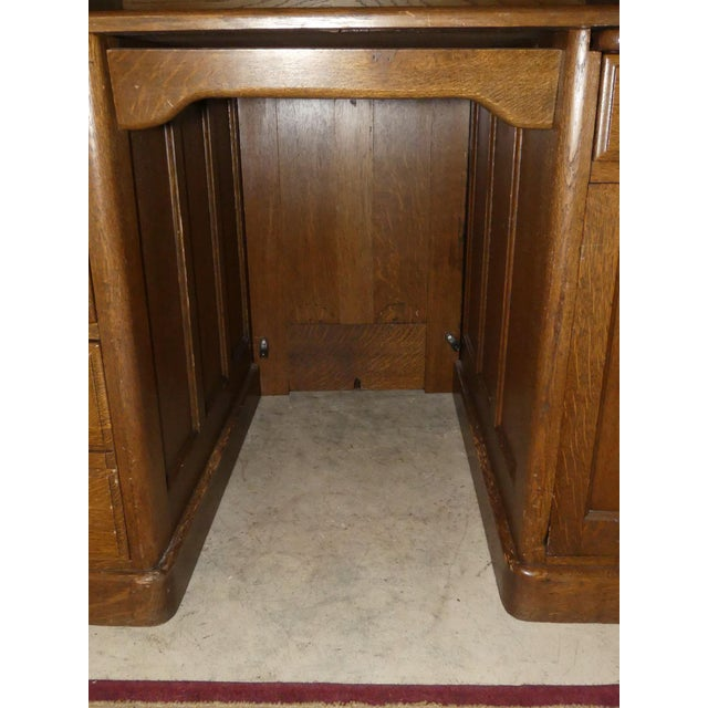 Solid Oak Rolltop Desk With Roll Front Hutch For Sale - Image 11 of 12