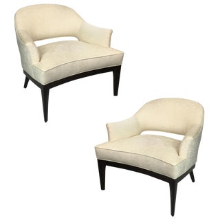 Chic Pair of Mahogany Club Chairs by Harvey Probber For Sale