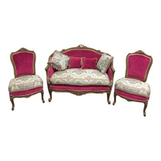 Vintage French Style Love Seat & Chairs - Set of 3 For Sale