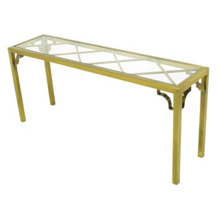 Mastercraft Brass Chinese Chippendale Console Table For Sale